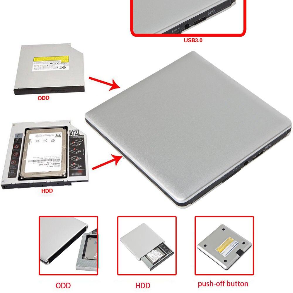 цена на 2.5 Inch USB 3.0 SATA Hard Drive Enclosure External HDD USB 3.0 Super Slim SATA 12.7mm Blu-ray DVD CD Drive Box Case For Mac 10