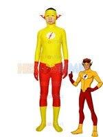 2015 Nuevo Chico Flash Superhero Traje Kid Flash amarillo y rojo de halloween cosplay spandex traje zentai suit envío gratis