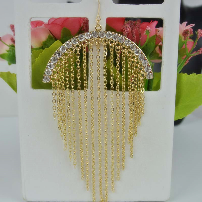Exaggerated Full Of Bright Zirconia Stone Ear Hook Drop Tassels Earrings For Women Fashion Jewerly