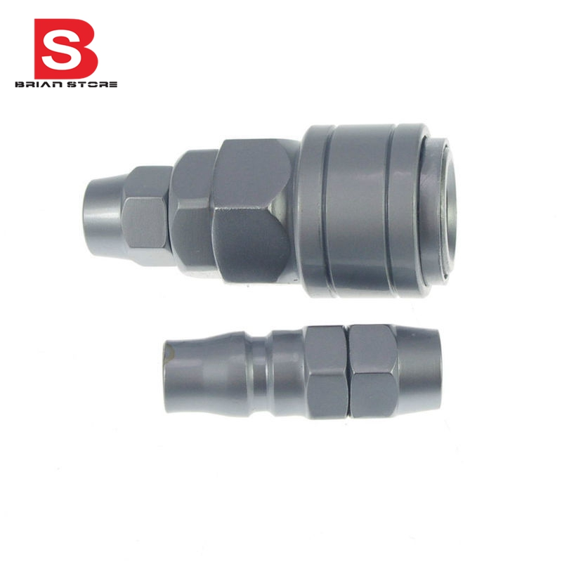 8mm OD Hose Air Compressor Quick Coupler Connector Steel Self Lock SP-20 PP-20 10 mm id hose air compressor pneumatic quick coupler connector barb socket fittings set sh 30 ph 30