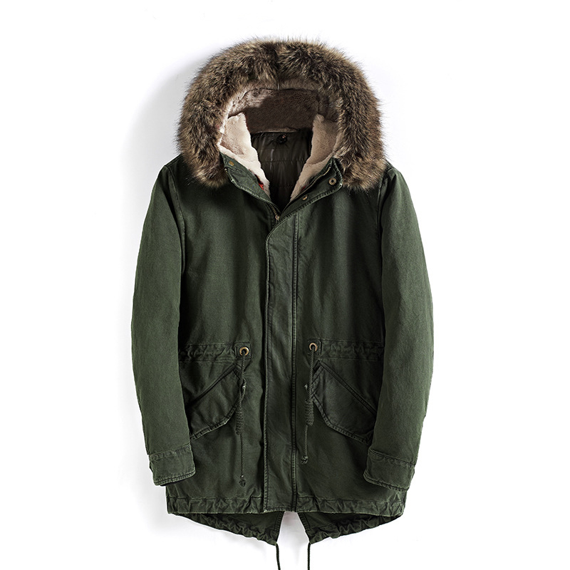 drop shipping men winter jacket with fur hooded keep warm thick military coat   parka   outerwear NXP25