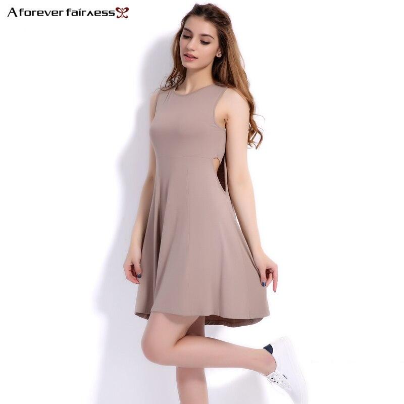 e11c0fe0f40 Навсегда Лето 2018 женское платье бретели О-образным вырезом талии  сексуальные полые без рукавов со складками женское Повседневное платье .