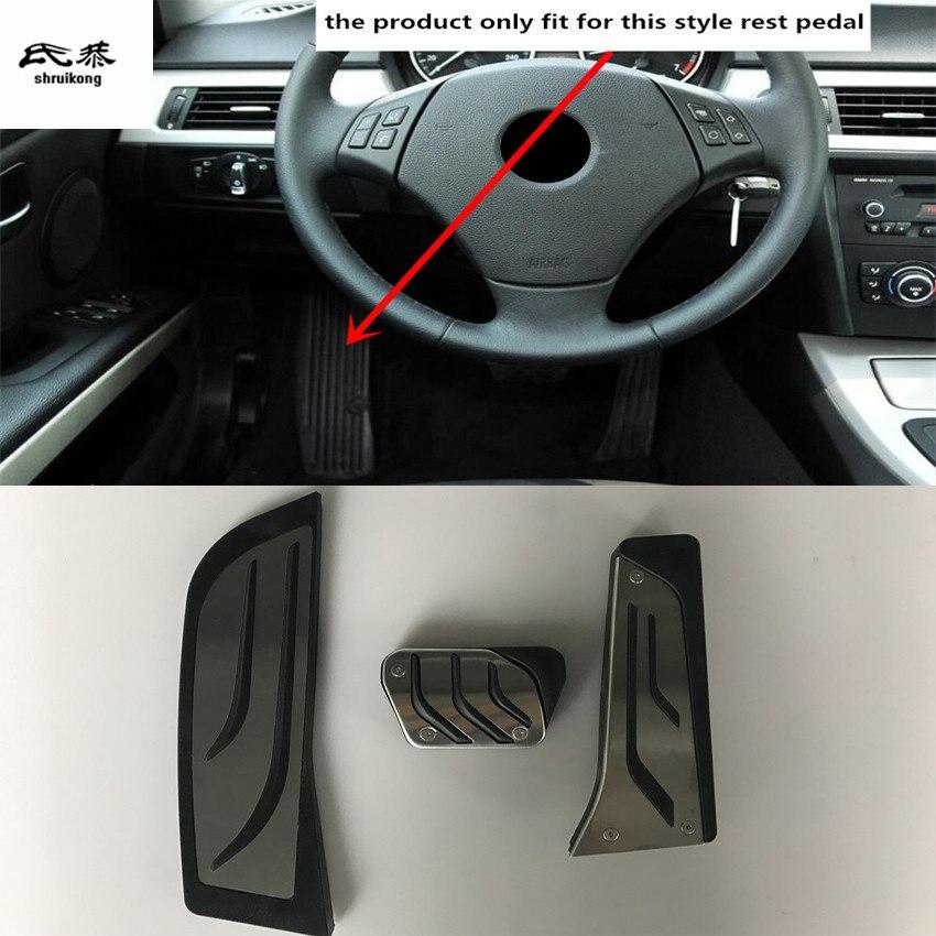 Livraison gratuite 3 pcs/lot repos sans poinçon + frein + pédales d'accélérateur pour 2005-2012 BMW 3 Series 318 E90 accessoires de voiture
