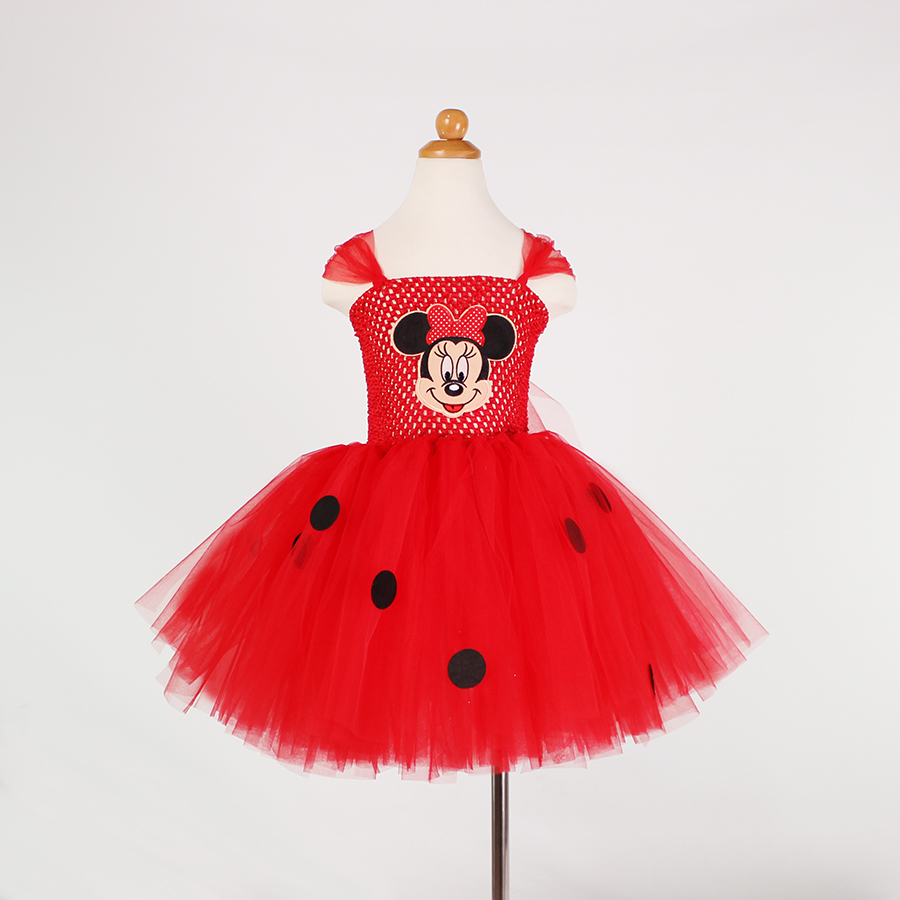 Minnie Mouse Tutu Dress Girls Mickey Inspired Handmade Tulle Tutu Party Birthday Cosplay Costume Red Kids Size 2-12 Years