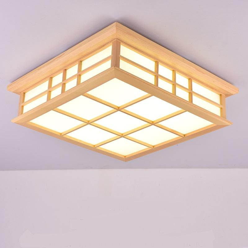 Square Solid Wooden LED Ceiling Lights Simple Living Room Study Loft Garden Home Bedroom lighting ceiling lamps ZA MZ7