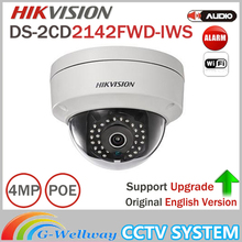 Original Updatable HIKVISION 4MP CCTV Camera DS-2CD2142FWD-IWS MINI WIFI Dome Camera Support Audio and Alarm I/O PoE IP Camera