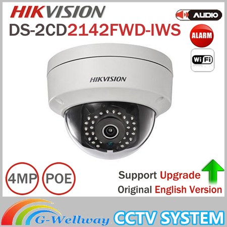 Original actualizable Hikvision 4MP CCTV Cámara DS-2CD2142FWD-IWS mini WiFi cámara domo soporte audio y alarma I/o Poe IP cámara