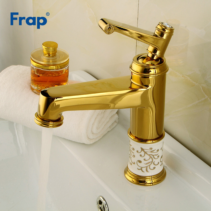 Frap New Luxury Bathroom Basin Gold Faucet Deck Mounted Brass Sink Tap Single Handle Hot and Cold Water Wash Mixer Taps Y10086Frap New Luxury Bathroom Basin Gold Faucet Deck Mounted Brass Sink Tap Single Handle Hot and Cold Water Wash Mixer Taps Y10086