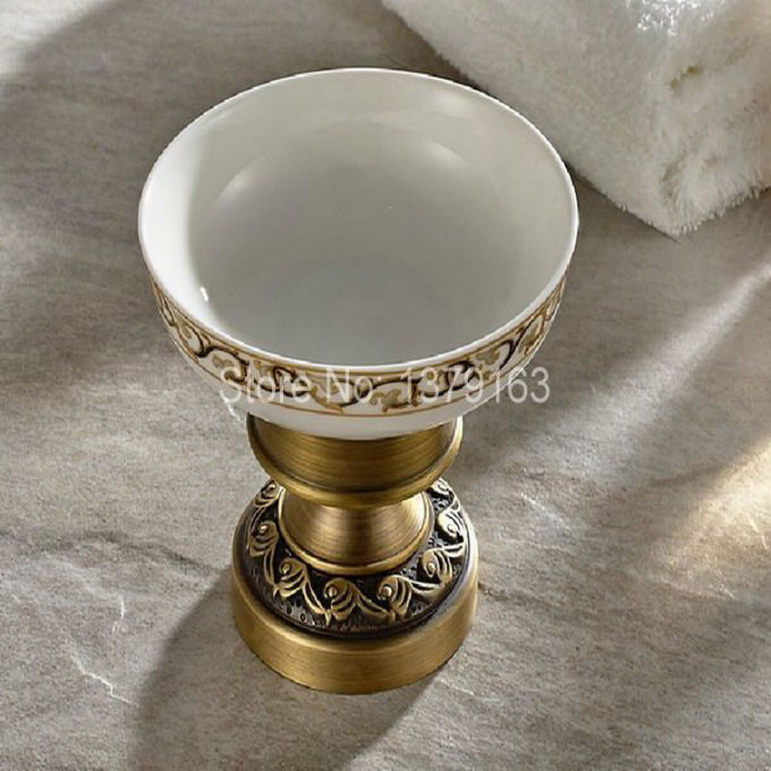 Bathroom Accessories Antique Brass Deck Mounted Bath Soap Dish Or Ashtray Dish Holder With