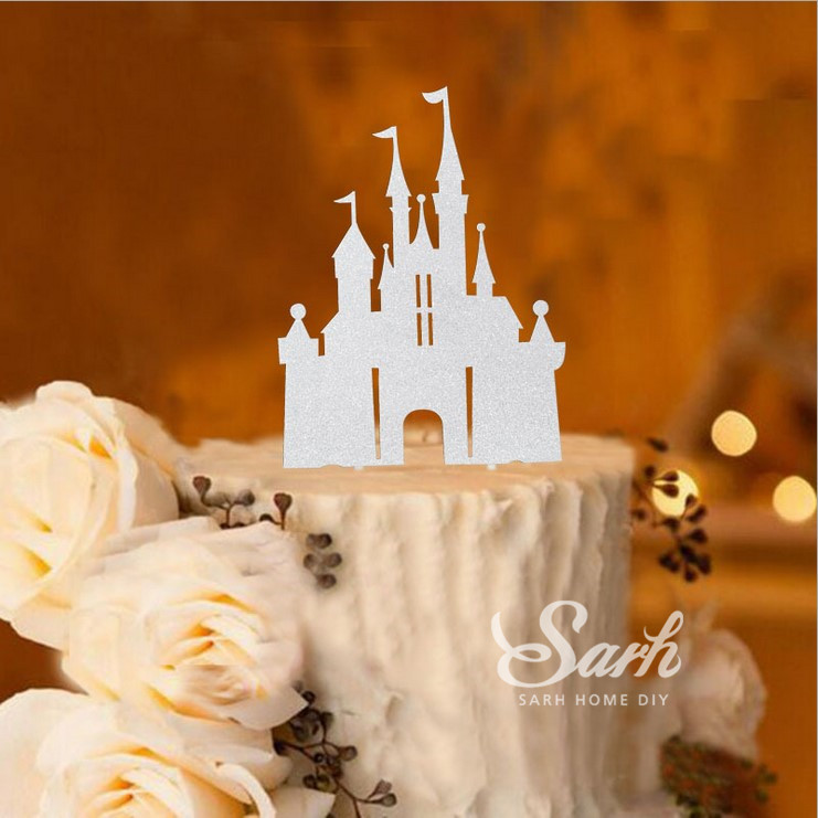 3pcs Bling Gold Sliver Romantic Princess Castle Cake Topper With