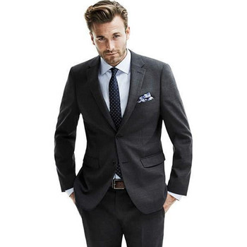New Arrival Morning Black Wedding Suits For Men Notched Lapel Grooms Tuxedos 2 Buttons Men Suits Slim Fit (Jacket+Pants)