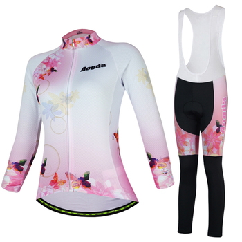 Aogda Mulheres Manga Comprida Ciclismo Vestuário Set Primavera Outono Desgaste Bicicleta Quick Dry Clothes Bicicleta Roupa Ciclismo