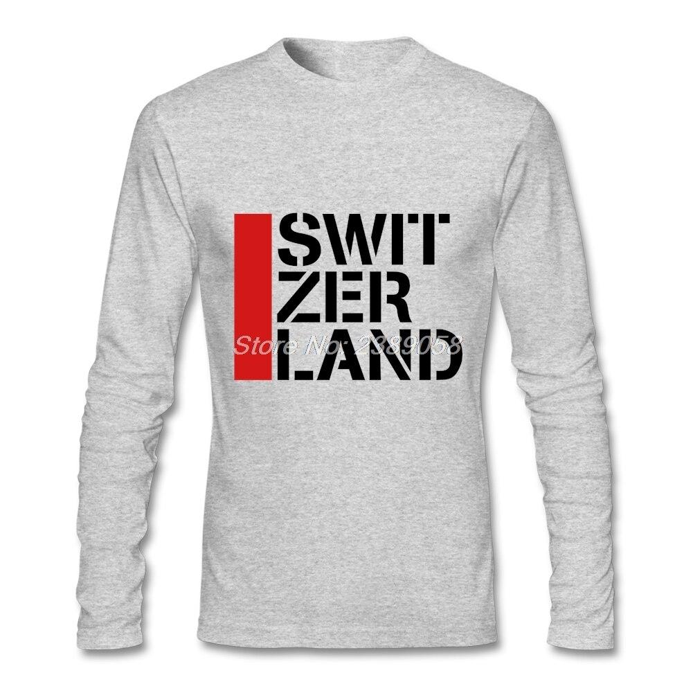 Design t shirt murah - Mens Vintage New Arrival Murah Keren Swiss Flag Desain Tops Mewah Lengan Panjang Mens T Shirt