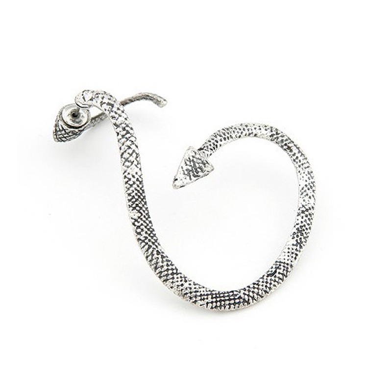 1 Pc Vintage Silver Bronze Alloy Snake Shaped Ear Cuff Clip Wrap Stud Earring Gothic Punk