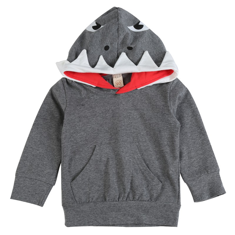 a2825fdb2b16 Baby Autumn Winter Shark Hooded Sweatshirt Boys Girls Hoodies With ...
