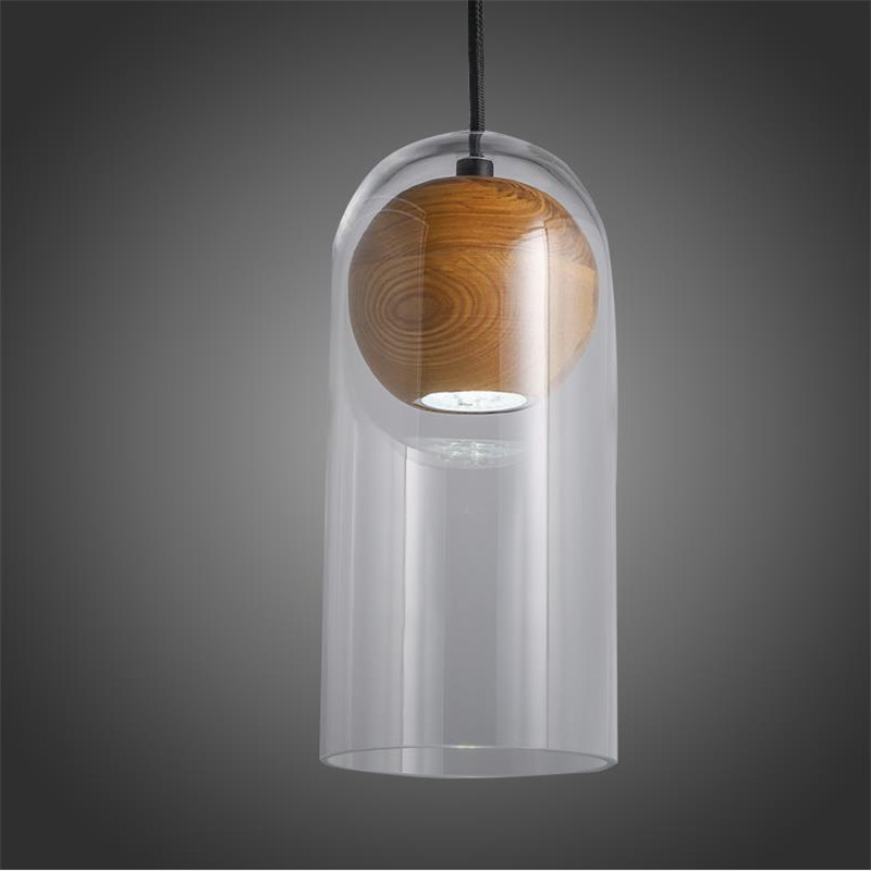 Modern Creative Europe Art Clear Glass Wood Ball Led font b Pendant b font Light For