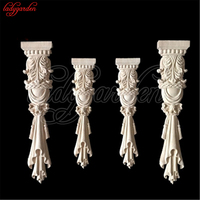 Decorative Wood Appliqus Woodcarving for Furniture Carved Long Flower Home Decoration Accessories Ornaments Flower Miniature