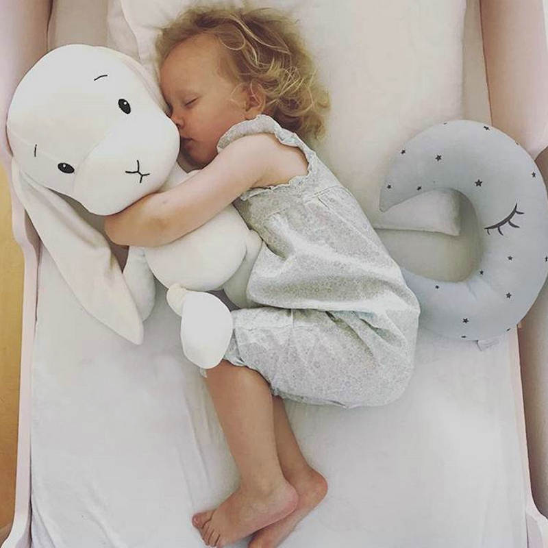 Ins Hot High Quality Soft Plush Baby Toys Stuffed Long Ear Rabbit Throw Pillow Cuddly Toys & Sleeping Cushion For Children Bunny