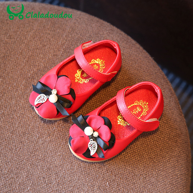 Claladoudou Baby Girls Shoes Princess Party Dress Leather Shoes For One Year Autumn First Walkers Soft Sole With Flower Stone