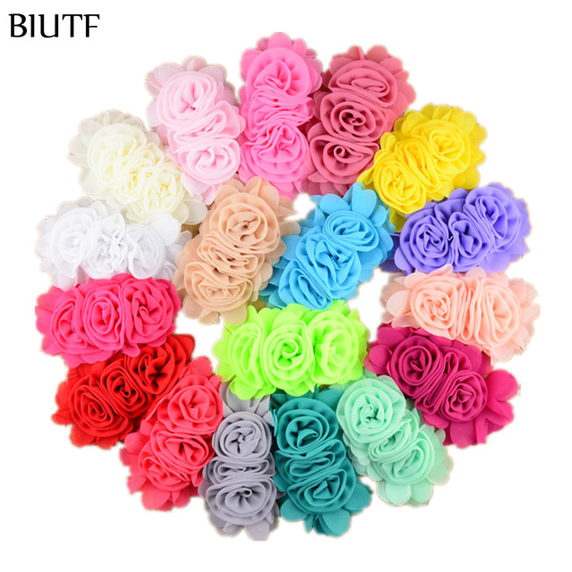 22pcs/lot 14cm*8.0cm DIY Chiffon Flower Jointed Three Rosette Flower for girl Headband Women Apparel Accessories 22 Colors TH203