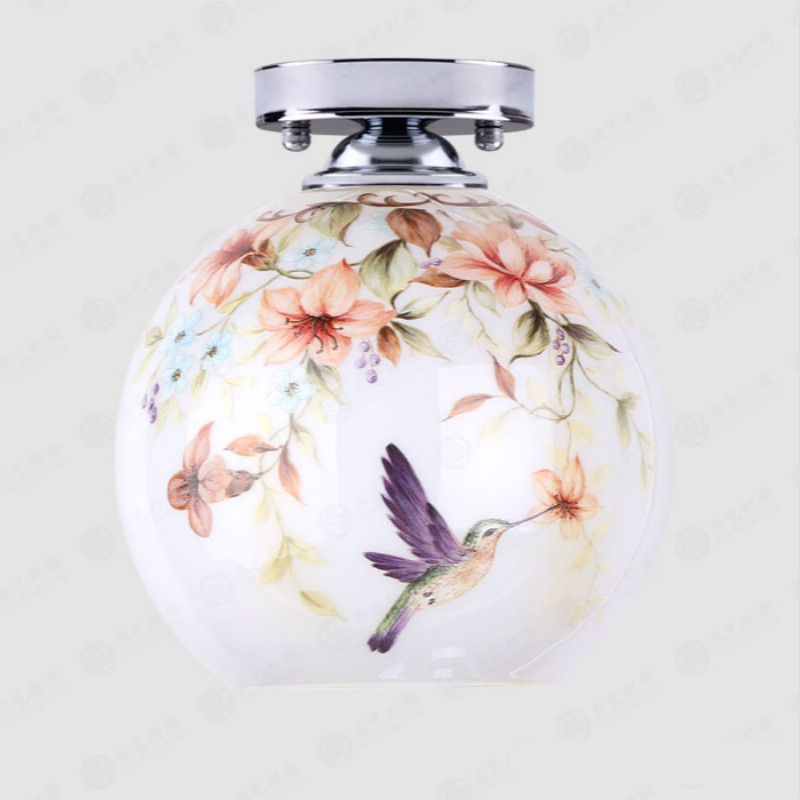 Classical Pastoral Hand Painted Exotic Glass Led 27 Ceiling Light For Entrance Aisle Corridor Living Room Dia 20cm 80-265v 2045 fashion crystal flower rgb changeable led ceiling light for living room entrance aisle dia 20cm 2117