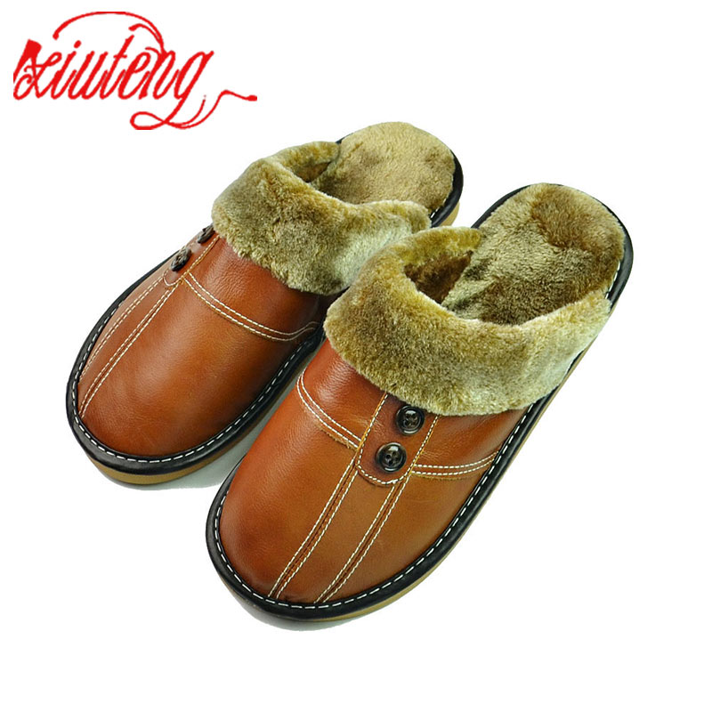b679e161f Xiuteng Winter Slippers Men Genuine Leather Flat Shoes 2018 Home Indoor  Warm Shoes Fur Sneakers Non-Slip Oxford Cotton Slipper - aliexpress.com -  imall.com