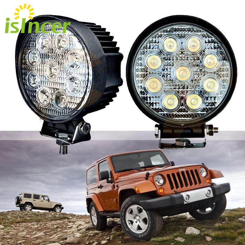 27W Car LED Work Light Bar Spot Light for Indicators Motorcycle LED Foglight for Off Road For Jeep BMW VW Toyota Mazda Focus