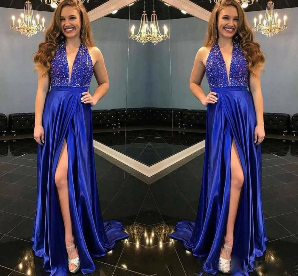 Charming Deep V-neck Prom Dresses Sexy Side Split Formal Long Evening Party Gown