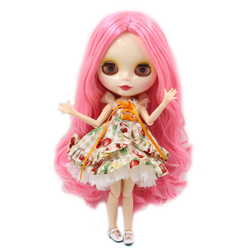 Blyth 1/6 Joint Body Nude Doll white skin Long Wavy