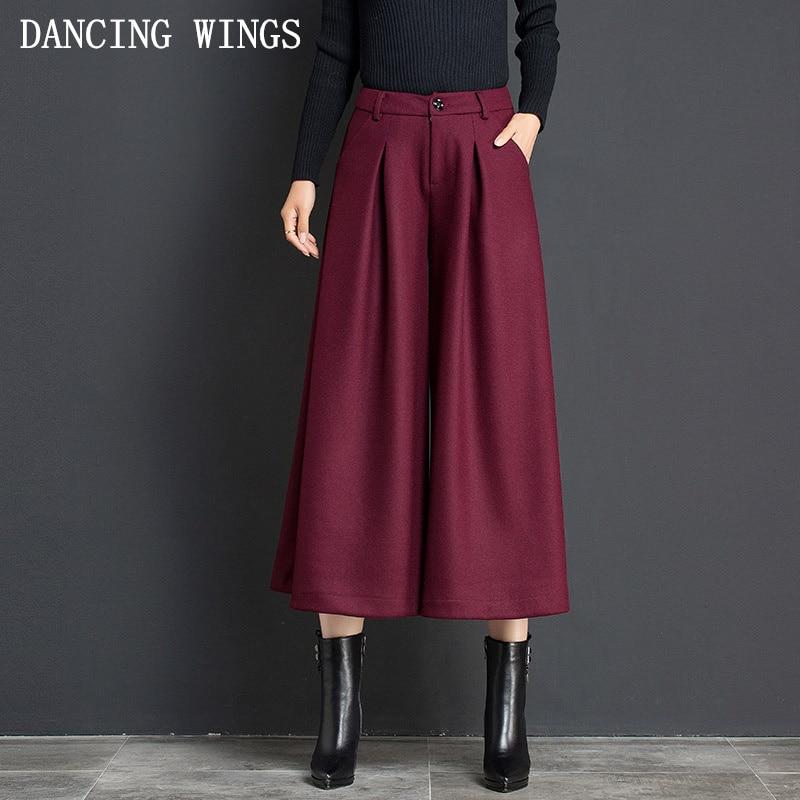 High Waist Women Woolen Wide Leg   Pants   Skirt Plus Size Casual Skirt Trousers   Capris   Culottes