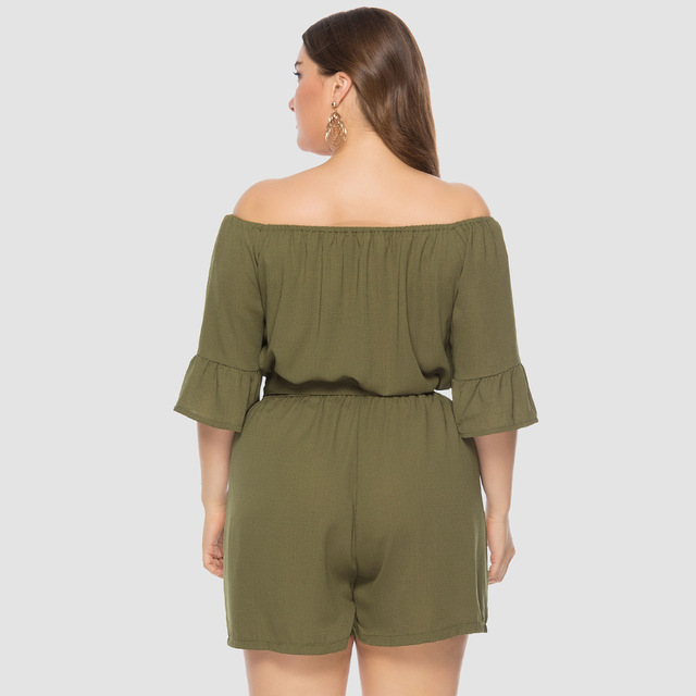 2019 summer New Women Off-Shoulder Playsuits Casual Lace Up Short-Sleeved  Loose Solid Sexy Playsuitst Rompers Plus Size 4XL 5