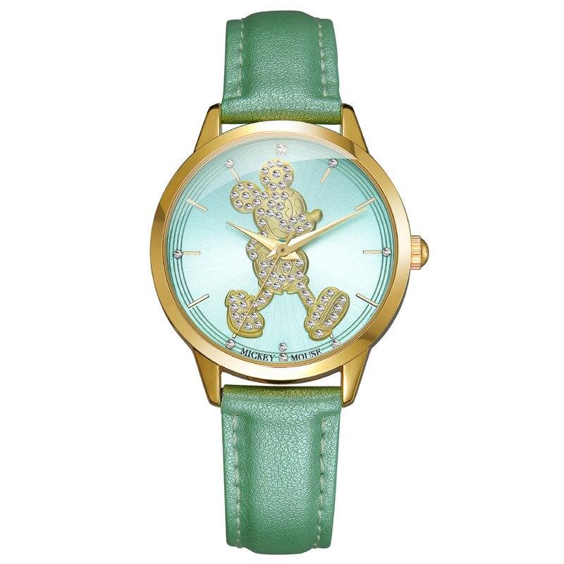ФОТО fashion girls Quartz Wristwatches Disney brands Mickey mouse leather diamond girl watches casual waterproof kids clocks relogio