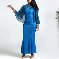 Clocolor Long Party Dress Blue Mermaid Bodycon Tight Women Autumn Mesh Beads Female Slim Prom Evening Wedding Elegant Maxi Dress