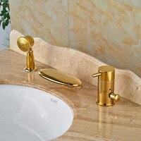 Одной ручкой Водопад ванна кран Набор Палуба Гора широкое Ванная комната ванна смесители