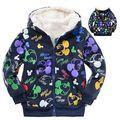 Moda de veludo florais além de crianças do bebê das meninas dos meninos dos desenhos animados crianças caráter roupas de inverno aquece camisolas hoodies outerwears