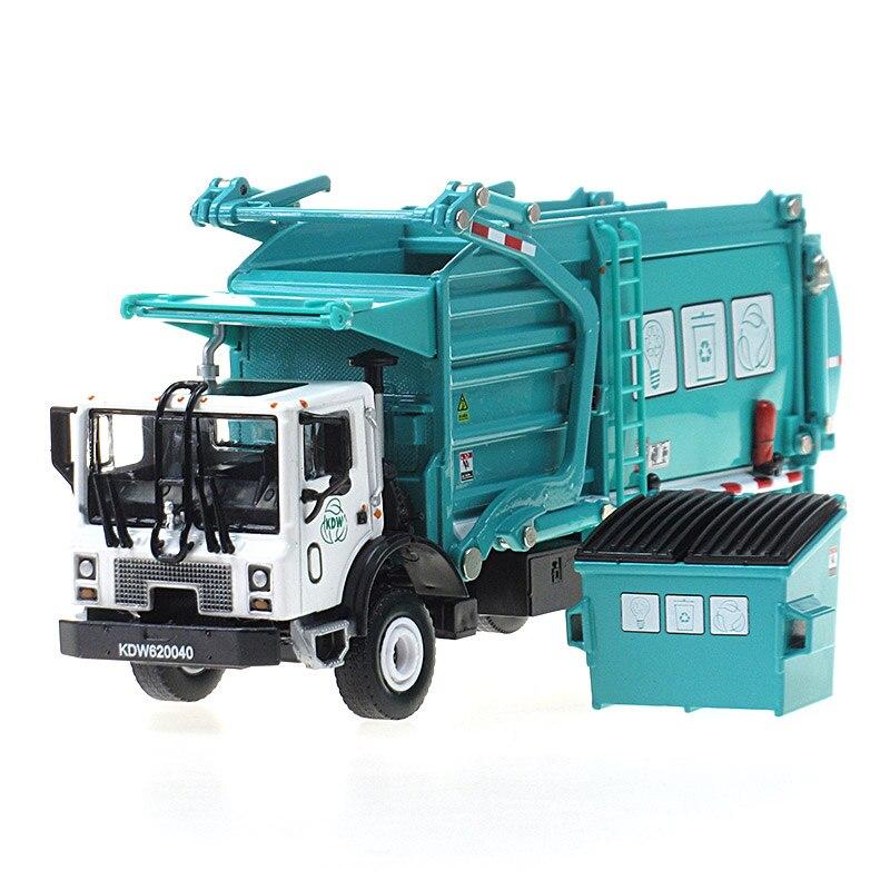 Alliage manutention camion à ordures de nettoyage t-shirt floqué 1:24 camion-poubelle camions d'assainissement de voiture propre voiture en jouet kid cadeau