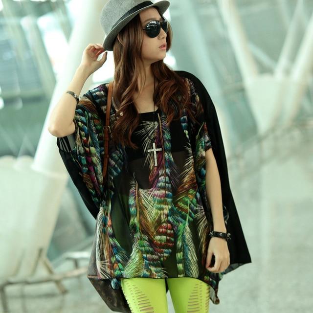Women's 2013 summer loose feather pattern chiffon batwing sleeve short-sleeve T-shirt x31210
