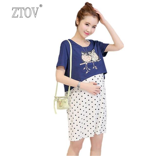 ZTOV Summer Two piece suit Maternity nursing Dresses Breast feeding ...