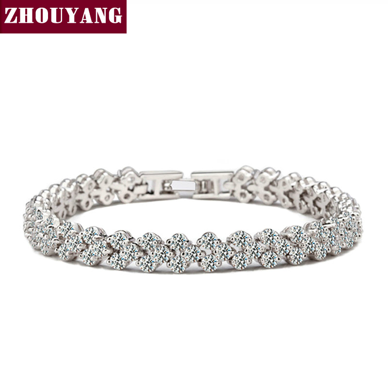 Top Quality JSH001 Noble Fashion Cubic Zirconia Silver Color Bracelet Jewelry Austrian Crystal Wholesale