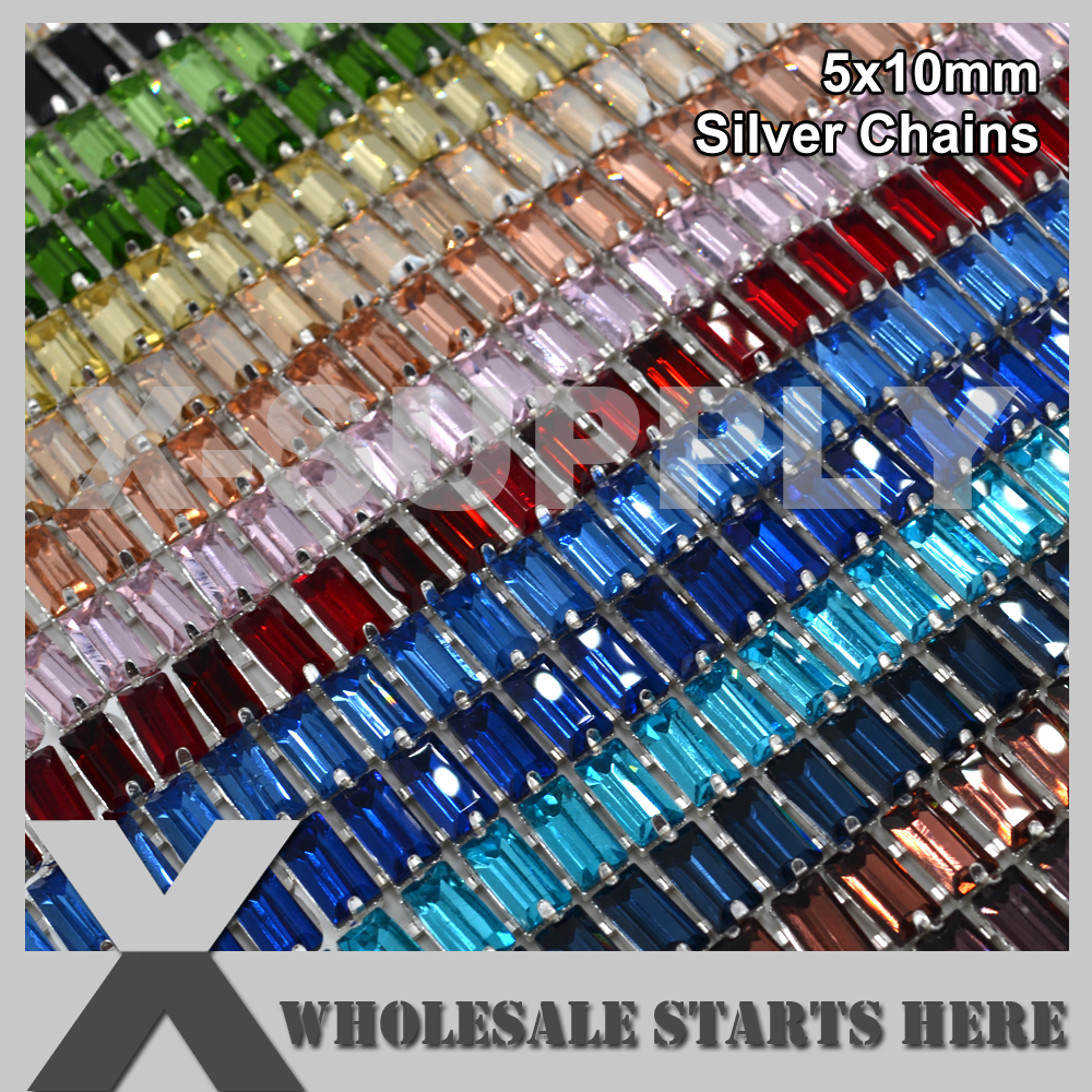 5x10mm Baguette Rectangle Crystal Rhinestone Cup Chain for Garment Shoe Jewelry Pet Hats Two Connectors 5