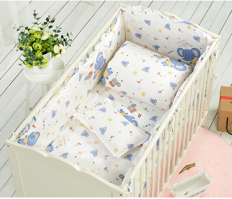 7PCS full Set Baby Bedding Set Bumper Cotton Printed Cartoon Bedding Newborn Crib Cot Sheet,(4bumper+sheet+duvet +pillow) цена