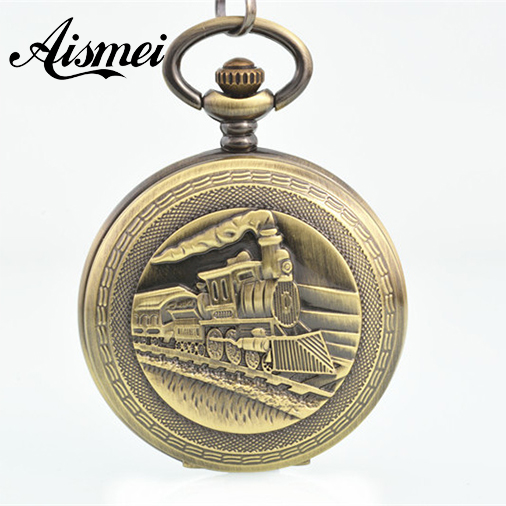 все цены на High Quality Classic bronze Train Mechanical Pocket Watch Skeleton Men's Pocket Watch Wholesale в интернете