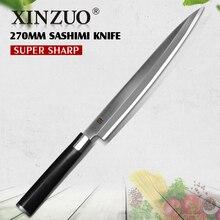 """XINZUO 10.5 """"pulgadas Unilateral de sushi sashimi cuchillo con Vaina de acero Alemania cuchillos de cocina cuchillo mango de Ébano envío libre"""