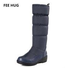 Плата Hug 2017 Элегантные зимние Женская обувь PU + Подпушка женская обувь зимние сапоги до середины голени на низкой танкетке женские мотоциклетные ботинки размер 43