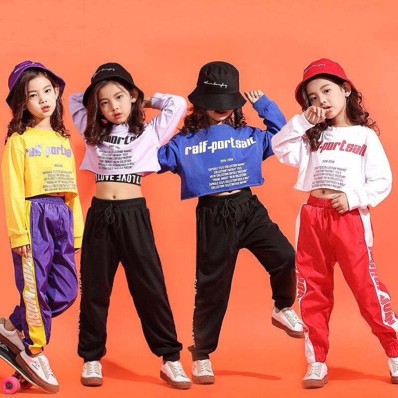 Children Hip Hop Clothes Girls Jazz Street Dance Costumes Kids Midriff-baring Sweatshirt Jogger Pants Ballroom Dancewear Outfit