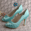 Wedopus MW334 Lady's Peep Toe High Heel Platform Party Dress Shoes Mint Green
