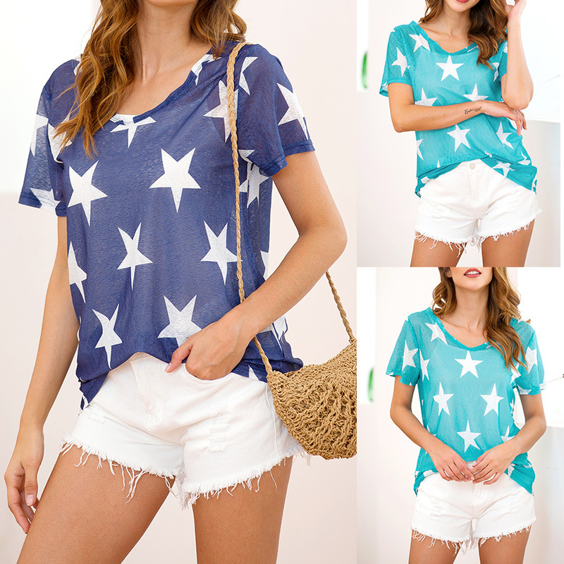 Women summer T shirt new cool perspective casual vintage tshirt five pointed star print streetwear women tops korean style 2019 in T Shirts from Women 39 s Clothing