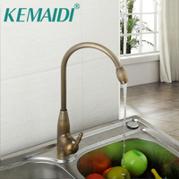 KEMAIDI UK Kitchen Faucet Antique Brass Basin Sink Mixer Swivel Faucet Deck Mounted Single Hole Kitchen