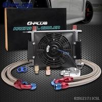 28 Row AN 10AN Universal Engine Oil Cooler Filter Adapter Kit 7 Cooling FAN