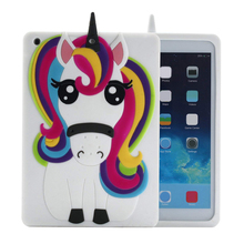 Case For iPad Unicorn, Cute Cool 3D Unicorn Horse Cartoon Animal Rainbow Soft Silicone Rubber Gel Back Protection Cover